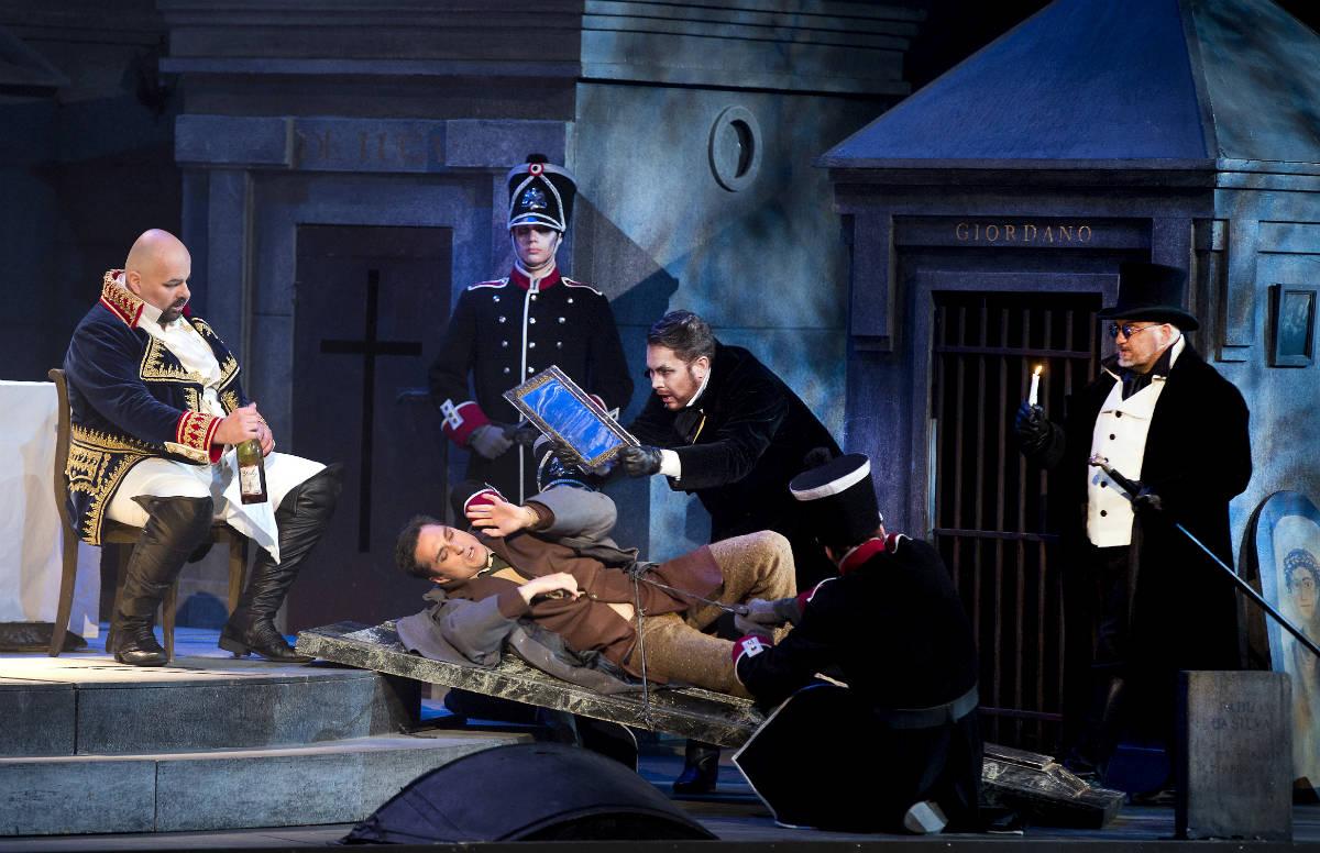 Savonlinna Opera Festival /Puccini Tosca - 2015 / Sebastian Catana (Scarpia), Giuseppe Filianoti (Cavaradossi), Nicholas Söderlund (Sciarrone), Aki Alamikkotervo (Spoletta)