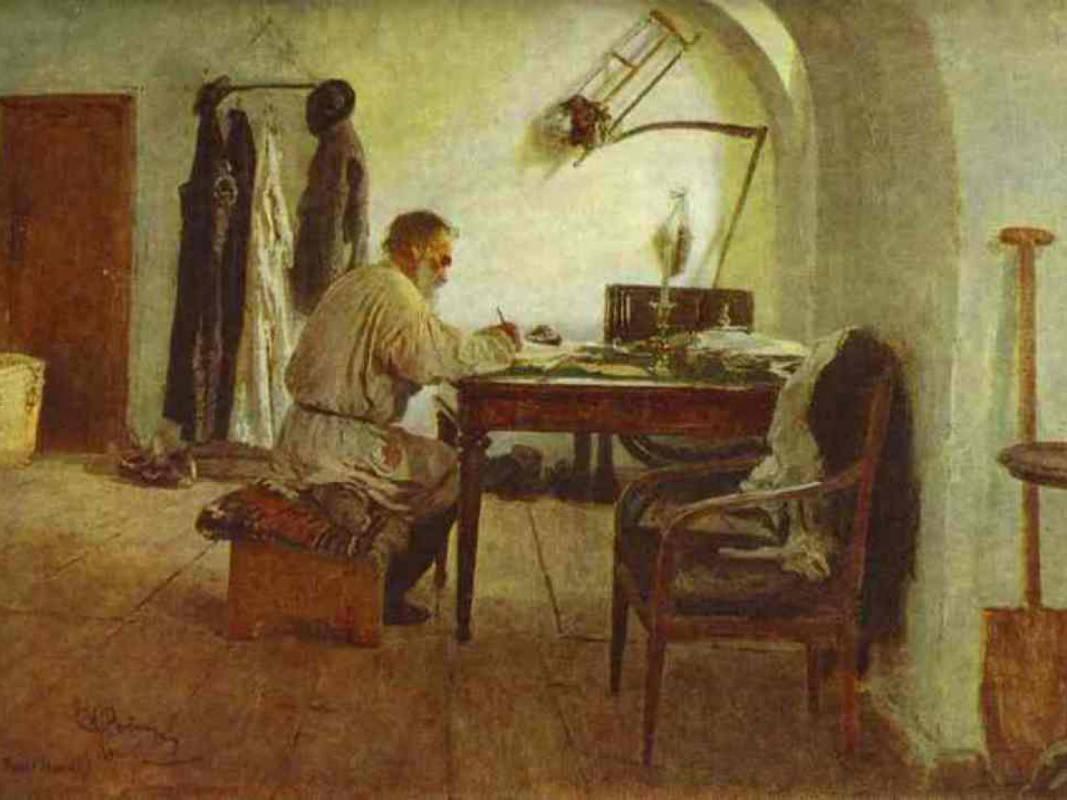 И. Репин. Толстой за работой в комнате под сводами. 1891 г.