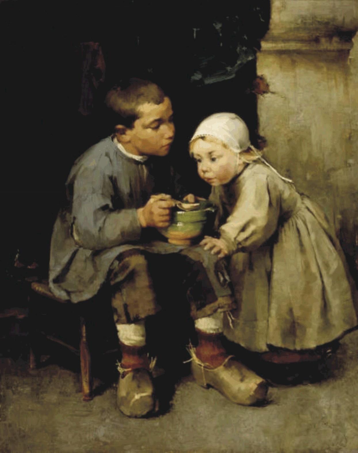 «Мальчик, кормящий младшую сестру» (1881)