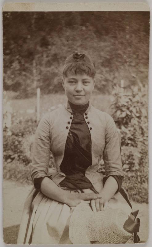 Gallen-Kallelan Museo FollowGarden portrait of Mary Slöör, Axel Gallén´s wife-to-be, taken by him in Rapola, 1887
