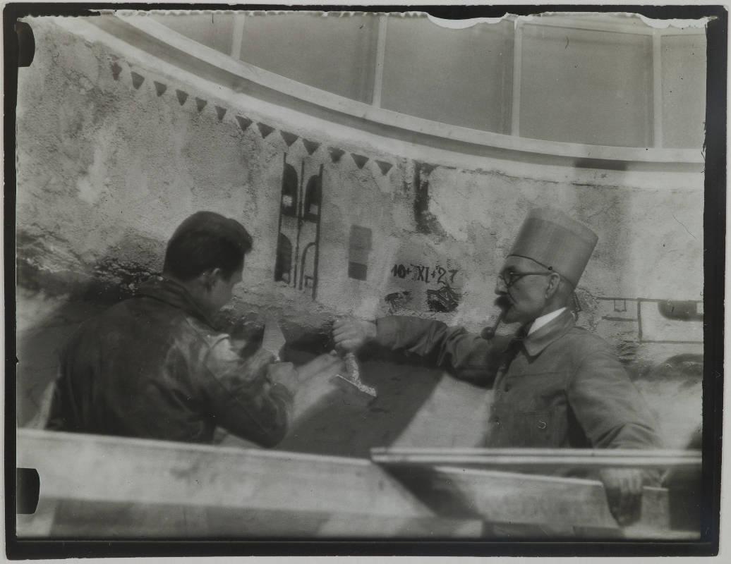 Gallen-Kallelan Museo FollowAkseli Gallen-Kallela with another man making the Kalevala cupola frescoes in the National Museum of Finland, 1928.
