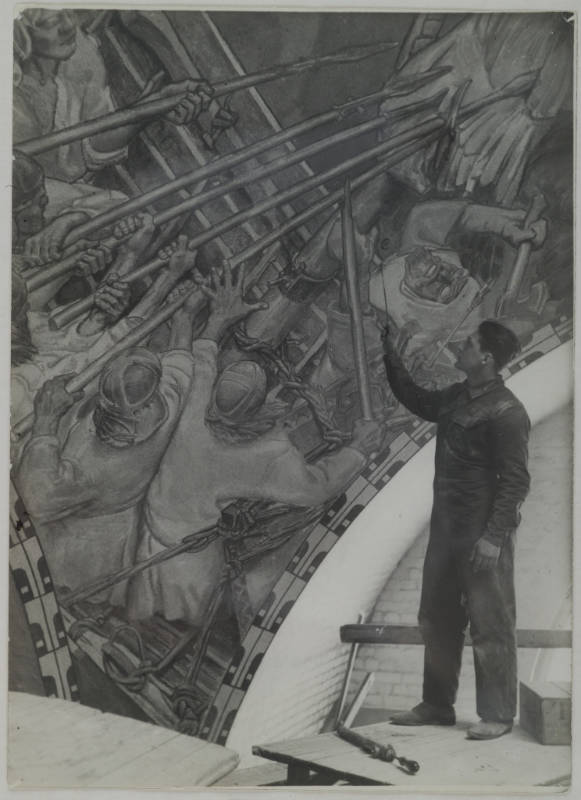 Gallen-Kallelan Museo / Jorma Gallen-Kallela painting the Kalevala cupola fresco The Defence of the Sampo in the National Museum of Finland, 1928.
