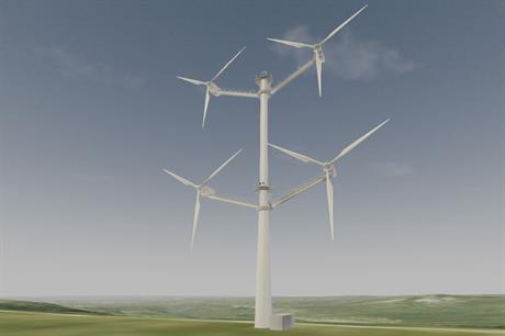 Courtesy of Vestas Wind Systems A/S / Computer-rendering of four-rotor Vestas 900kW concept turbine