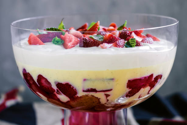 flikr/9 Look Book / Strawberry, rhubarb & custard trifle