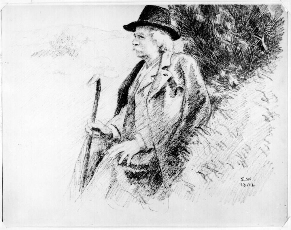 Bergen Public Library Norway /Erik Werenskiold / Edvard Grieg portrait. 1902