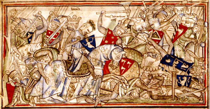 Харальд на Стэмфордском мосту. Согласно сагам, Харальд носил синий плащ и шлем.