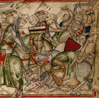 Харальд собирается победить армию Нортумбрии / Изображение из хроник XIII века «Жизнеописание короля Эдуарда-Исповедника», автор – Метью Пэрис.