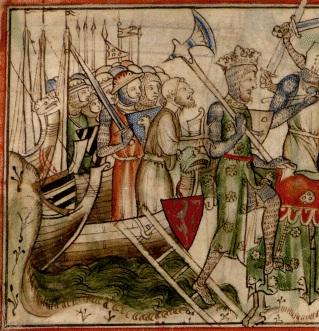 У Харальда был огромный корабль, построенный около 1060 года, названный Ормэн ( «Змея»). Харальд высадился недалеко от Йорка. Изображение из хроник XIII века «Жизнеописание короля Эдуарда-Исповедника», автор – Метью Пэрис.