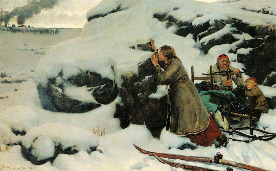 Альберт Эдельфельт. «Сгоревшая деревня». 1879 г.