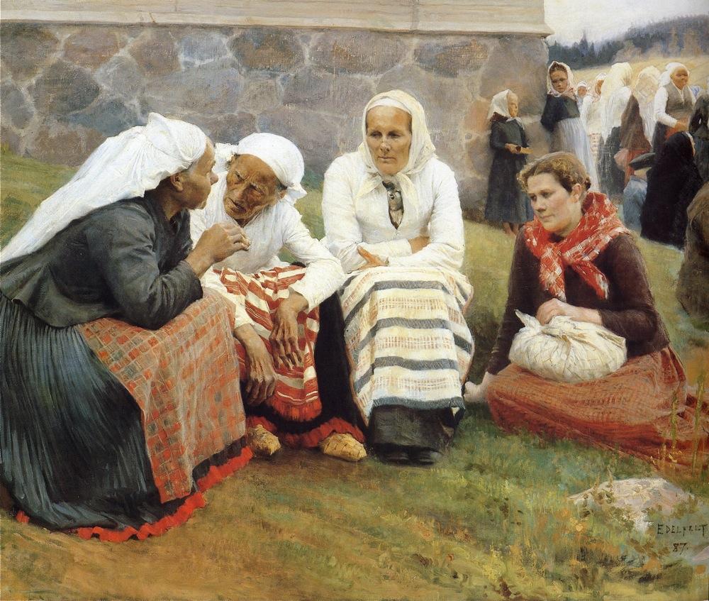 Альберт Эдельфельт. «Старухи на церковной горе в Руоколахти».1887 г.