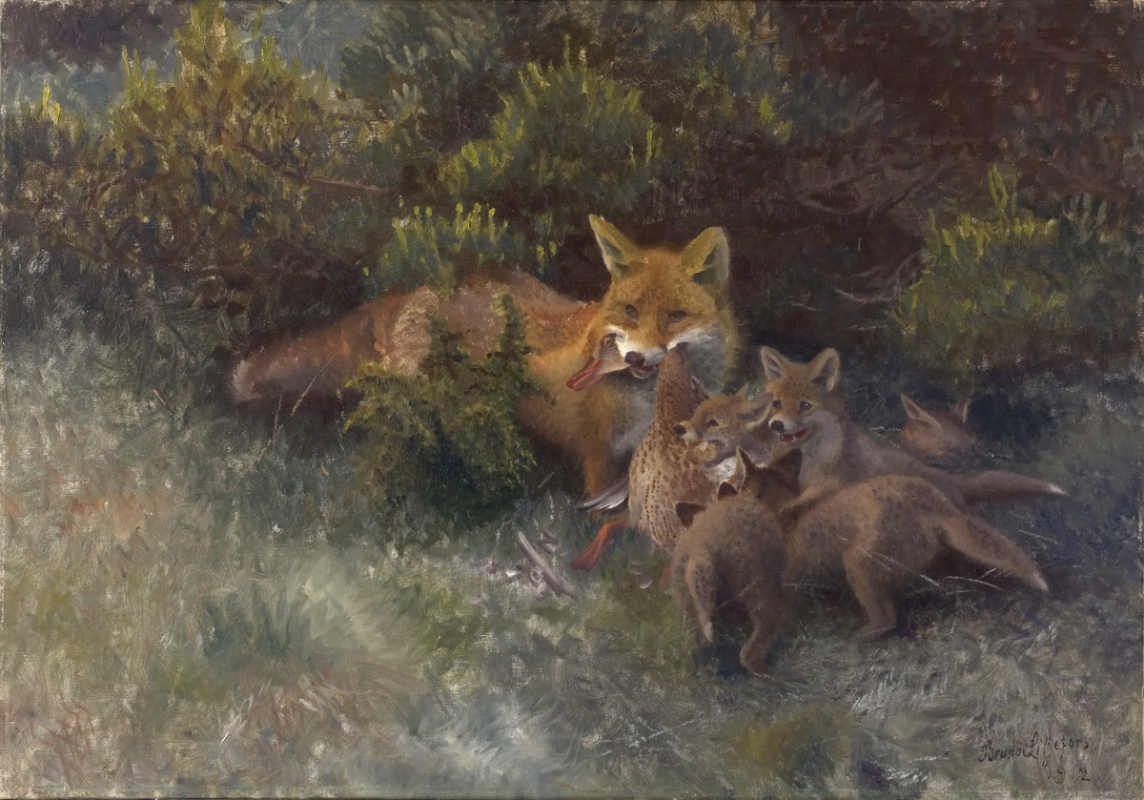 Бруно Лильефорс / Лиса с лисятами. 1912 г. Национальный музей Швеции