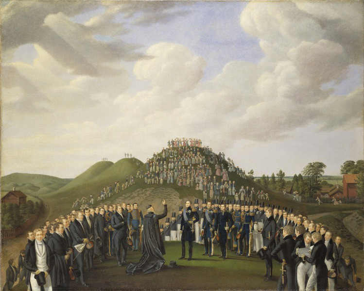 Johan Way / King Carl XIV Johan Visiting the Mounds at Old Uppsala in 1834. 1836. Nationalmuseum