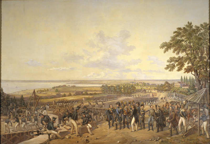 Alexander Wetterling / King Carl XIV Johan of Sweden Visiting the Canal Locks at Berg in 1819. 1856. Nationalmuseum