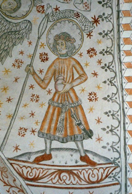 Святой Кнуд на средневековой настенной живописи в Церкви Вигерстедс