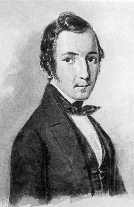 F. Kaschenreuter/ 1845 /Акварель 1845. Топелиус в 27 лет