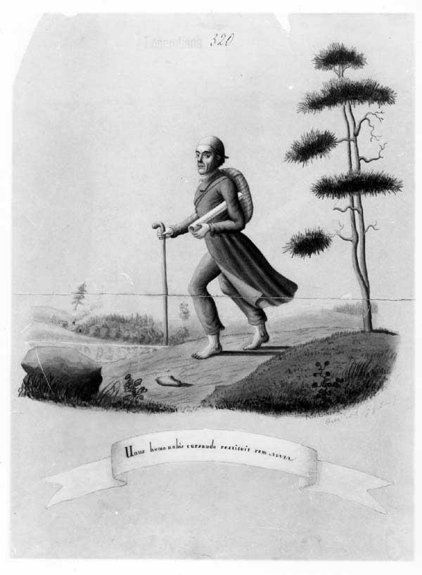 Рисунок , на котором изображен Лённрот, идущий босиком по Финляндии за рунами Калевалы