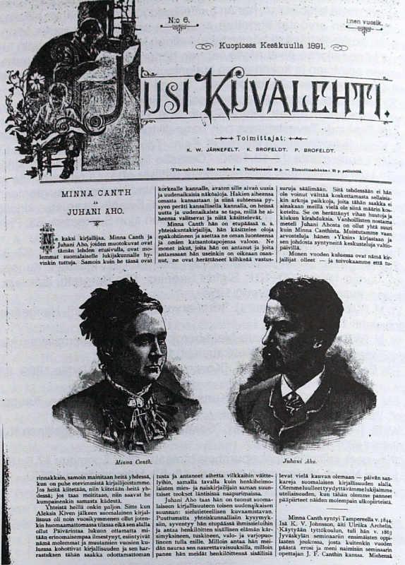 Один из первых образцов использования фотографии в финских газетах: фотопортреты Минны Кант и писателя Юхани Ахо в газете Uusi Kuvalehti. Июнь 1891 года