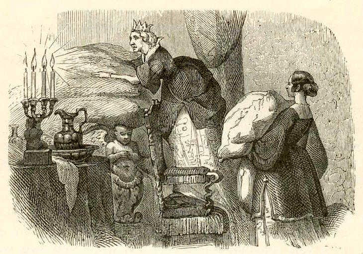 Вильхелм Педерсен (1820-1859) был первым иллюстратором сказок и историй Ханса Кристиана Андерсена. Иллюстрация к сказке «Принцесса на горошине».