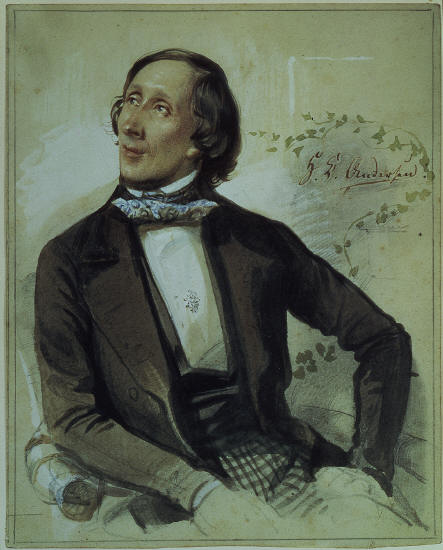 Художник Карл Хартманн (1718-1857). Портрет Х.К. Андерсена.1845 г. Картина находится в замке Грестен, Дания.
