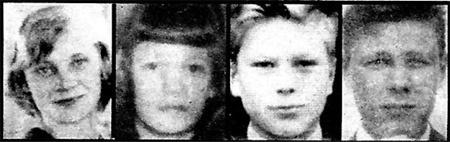 Майли Ирмели Бьёрклунд 15 лет, Арья Тууликки Мяки 15 лет, Сеппо Антеро Бойсман 18 лет и выживший Нилс Уильхельм Густафссон 18 лет