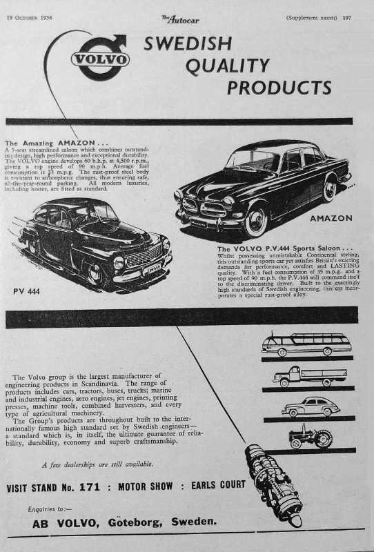 Фото: volvoamazonpictures.se/ Реклама в журнале Autocar Magazine, 19 октября 1956 года