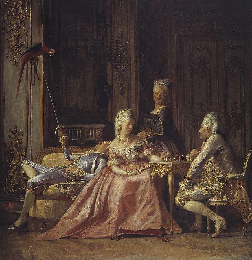 Картина датского художника Кристиана Цартмана «Сцена при дворе Кристиана VII» (1873) изображает любовный треугольник короля, его фаворита и королевы.