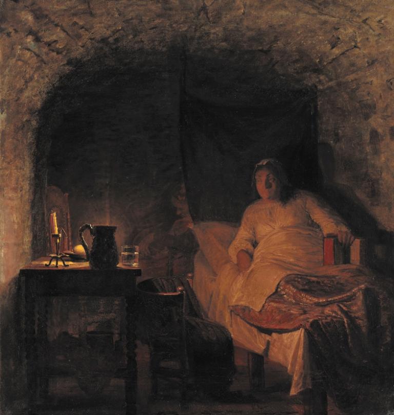 Полотно художника Кристиана Цартмана/ Леонора Кристина в тюремной камере (1896 г.)