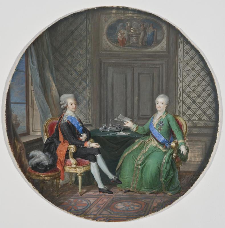 Художник Корнелиус Хёйер. Национальный музей Швеции / Король Густав III и Екатерина II в Фридрихсхамне 1783 год
