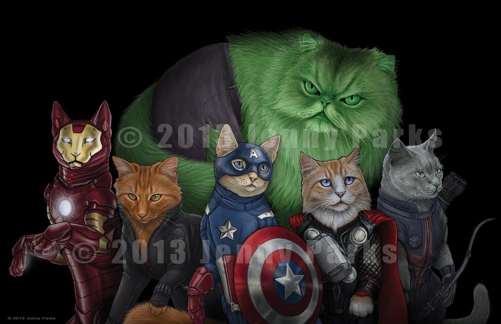 http://www.jennyparks.com/ (C) Copyright Jenny Parks of Jenny Parks Illustration. Коты - супер-герои